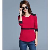 Baju Kaos Big Size Wanita Import Red UnBasic (Size XL) 186788
