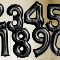 Jual Balon foil Huruf Angka uk.40cm Hitam / Black Murah