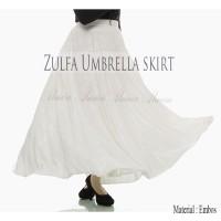 Rok Panjang Payung Muslimah Zulfa Umbrella Maxi Skirt Emboss Putih