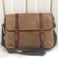 FOSSIL Estate messenger khaki briefcase original tas pria kantor