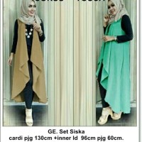 setelan baju muslim 4in1 vest outer rompi cardigan hijab celana baju