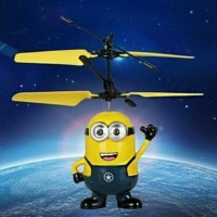 BRG-17000608 Minion flying helicopter/mainan anak boneka robot terbang