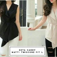 Jual [keta cardy RO] blouse wanita twiscont hitam dan cream Murah