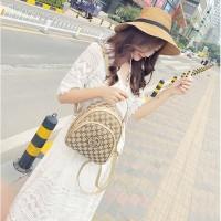 tas ransel coklat motif emas gc gs wanita sale import murmer hongkong
