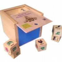 Jual Mainan Edukasi Anak - Balok Kayu 27 Alfabet Gambar Dadu Huruf   Murah