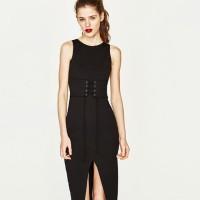 Jual Midi Dress Sexy Bodycon Black Slim Sleeves (L) Import Original Murah