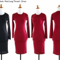 Jual S482 Dress midi bodycon hitam merah katun rib KODE YT482 Murah