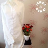 Kemeja blus kerja wanita putih polos zara lembut body panjang JUMBO