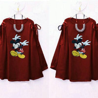 Baju Cewek/ Kemeja/ Atasan/ Dress Murah RYU MICKEY MAROON