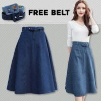 Jual Barbie Denim A Line Skirt(#6060)/Rok jeans/Midi Denim F Limited Murah