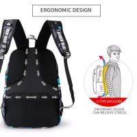 Tas Backpack branded Mark Ryden Escolar hitam bukan merk jack wolfskin