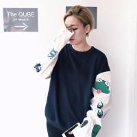Jual DAPATKAN BEST SELLER Sweater Wanita Round Hand oversized jepang kaos Murah