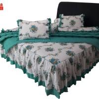 SORAYA Bedsheet - Sprei Rimpel + Bed Cover Roses Tosca