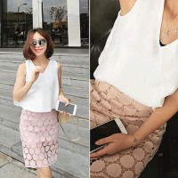 Jual White Sleeveless V Neck Loose Top and Pink Lace Skirt Murah