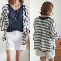 Jual Blue Striped Buttons Front or Back Wear Loose Shirt Murah