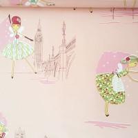 wallpaper motif gambar cewek kartun background pink D849