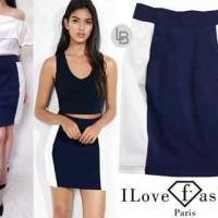 Jual DAPATKAN PALING MURAH I love fashion contarst skirt bodycon original Murah