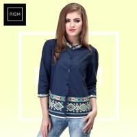 Jual Dress Motif Batik Trendy Biru | Atasan Wanita Batik | 998 | Inficlo Murah