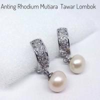Jual PROMO Anting Cantik Mutiara Air Tawar Bahan Rhodium Silver Asli Lombok Murah