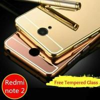 Jual Xiaomi Redmi Note 2 Bumper Aluminium Mirror Free Tempered Glass Murah