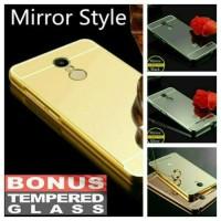 Jual PAKET Bumper Alumunium Mirror & Tempered Glass For Xiaomi Redmi Note 3 Murah