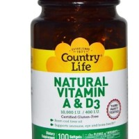 Country Life Natural Vitamin A & D3 10,000 IU/400 IU 100 Softgels