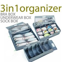 Jual Fiber Bra Box organizer 3 in 1 (tanpa tutup) bra cd kaos kaki - HPR001 Murah
