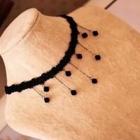 Jual Kalung Cantik & Manis Choker A15 Lace Vintage With Bead Necklace Women Murah