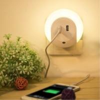 Jual Lampu tidur sensor cahaya dengan dual usb port charger/cas/charging Murah