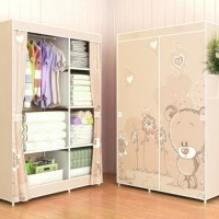 Jual 03 BEAR Multifunction Wardrobe / Cloth Rack with cover lemari pakaian Murah