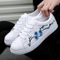 Jual Terlaris! Sepatu Wanita Kets Casual -  Sneakers Bordir Bunga DK48 Murah