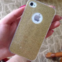 CASING HP SOFT JELLY SILICONE GLITTER BLING GOLD,PINK IPHONE 4 4S