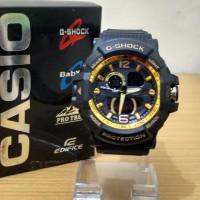 Jual Jam Tangan Sporty Pria / Cowok GWA-1000 Black Gold Murah