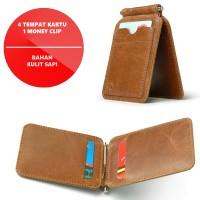 Jual Dompet Pria ( Spring Money Clip Wallet Cow Leather ) Vintage Murah
