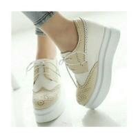 Jual CMR262 Sepatu Boots Wedges Putih 3 Cm Murah
