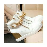 Jual CMR257 Sepatu Boots Wedges Putih 3 Cm Murah