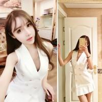 JES-SB0584 mini dress casual sexy import korea-baju putih seksi wanita