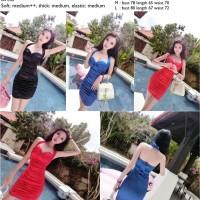 Jual dress bodycon, dress pesta mini, sexy, satin silk, merah, biru, hitam Murah