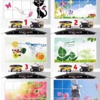 Stiker / Wallpaper Dinding Dapur Anti-Minyak Motif Bunga Ikan Buah