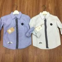 Harga baju anak laki import branded kemeja double list blue fashion boy | WIKIPRICE INDONESIA