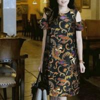 Jual dress batik motif wayang Murah