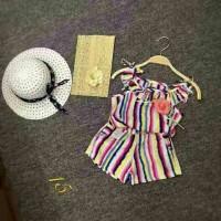 Jual baju anak perempuan import branded setelan tank top rainbow rose girl Murah