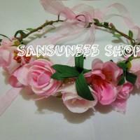 Jual Aksesoris Rambut Mahkota Bunga Mawar/Tiara Flower Crown Rose Glitter Murah