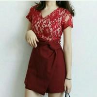 Jual Mini Dress Jersey Brokat Maroon Murah