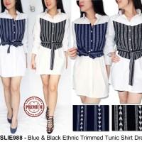 Jual Miss Lie Blue & Black Ethnic Trimmed Tunic Shirt Dress Murah