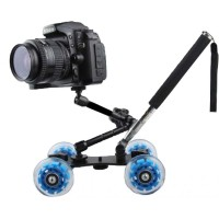 Dolly Slider Kamera DSLR dengan Magic Arm   Monopod - Hitam Biru