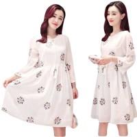 Jual Dress Korea Import Baju Pesta putih Chiffon motif abstrack Anggun 734 Murah
