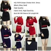 Jual HQ 17079 Stripe Choker Knit Dress (BLACK, BLUE,RED) Murah