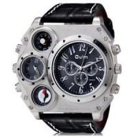 Jual Oulm Mechanical Compass and Thermometer Quartz Men Leather Ban Limited Murah