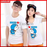 Jual [Cp T-Shirt Doraemon CL] pakaian couple cotton combed putih Murah